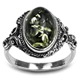 Sterling Silver Green Amber Oval Ring