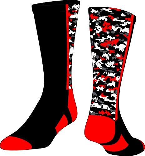 TCK Digital Camo Crew Socks (Black/Red, Small) (Red Football Socks compare prices)