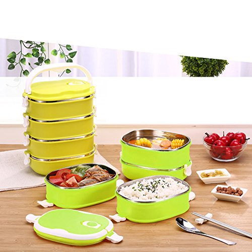 coffled stainless steel bento lunch box premium leak proof portable food storage container. Black Bedroom Furniture Sets. Home Design Ideas