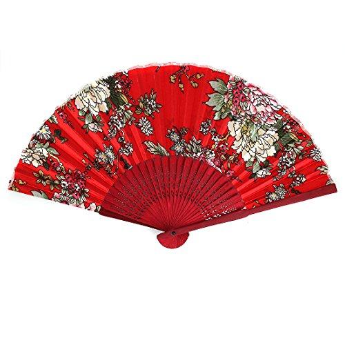 Wood Frame Flower Pattern Wedding Party Dance Folding Hand Fan Red