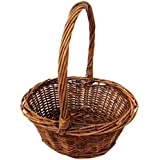Royal Imports Oval Shaped Easter Basket with Handle and Plastic Insert -6X8 INCHES-