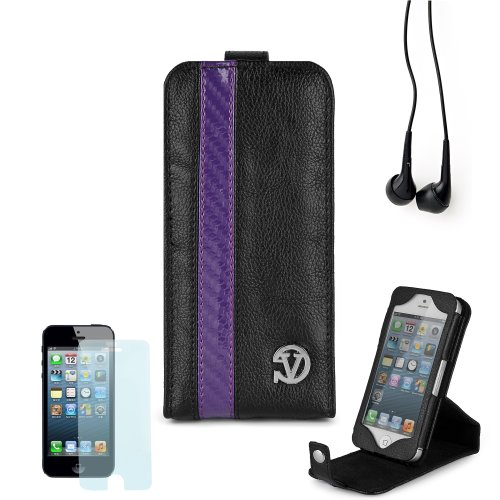 Elegant Vangoddy Repetto Collection Black And Purple Thick Grain Leatherette Apple Iphone 5 Leather Cover With Vertical Stand + Custom Cut Iphone 5 Screen Protector + Compatible Iphone 5 Earbud Earphones