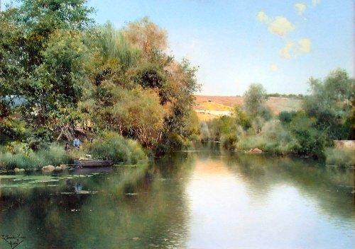 landscape-with-boat-and-men-emilio-sanchez-perrier-quality-mouse-mat