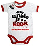 Dirty Fingers, My Uncle is a geek...but we still love him, Baby Short Sleeve Bodysuit with contrast trim