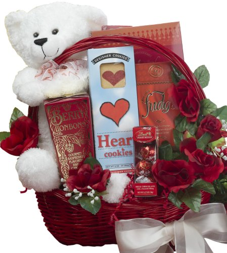 All My Love Chocolate Gift Basket With Teddy Bear - Romantic Gift Basket