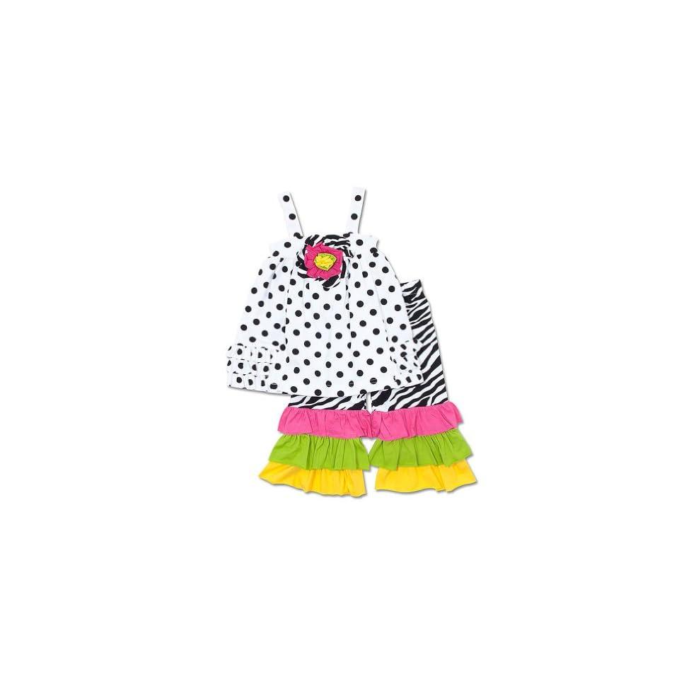 Peaches n Cream Baby Girls Infant White Black Polka Dot Zebra Ruffle Knit Capri set, 12 Months Clothing