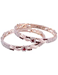 Bliss Beauty Trendy White And Red Stones Flower Design With Gold Plated Leaves Bangles (BLISS034)