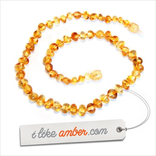 33cm Genuine Baltic Amber Necklace - Child Baby size Honey color Baroque Beads - Soothes and Calms Naturally Teething pain