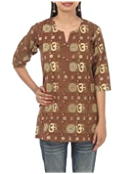 Rajrang Hand BLock Printed Cotton Short CasuaL Wear Kurta Top BLouse Size M