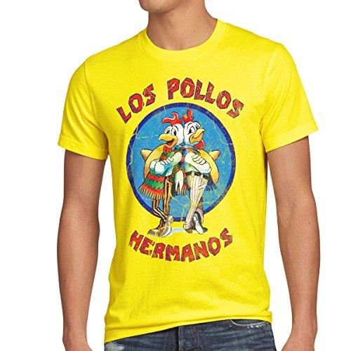 style3 Los Pollos T-Shirt da uomo, Dimensione:M;Colore:giallo
