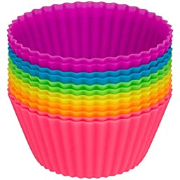 Globally Good Silicone Baking Cups / Cupcake Liners - Premium Reusable Muffin Molds - Recipe E-Book Included(24)