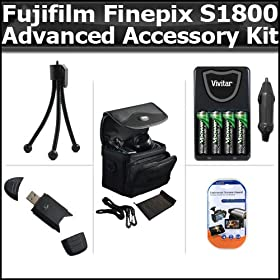 Advanced Accessory Kit For Fujifilm FinePix S1800 12.2 MP Digital Camera Includes USB 2.0 High Speed Card Reader + 4AA High Capacity Rechargeable NIMH Batteries And AC/DC Rapid Charger + Deluxe Carrying Case + LCD Screen Protectors + More