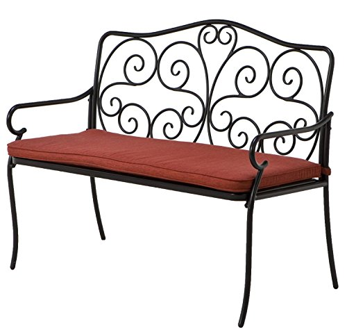 Grand Patio Vines Pattern Lawrence Steel Bench with Outdoor Olefin Cushion, Black Powder Coated Heavy Duty Rust Resistant Steel Frames, 45