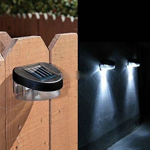 DDU(TM) Outdoor Garden Path Wall Fence Lawn Solar Powered Power LED Lamp Lights Lighting (Pack of one: bright white)