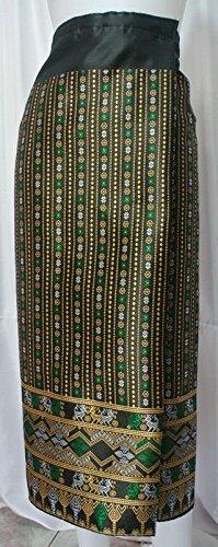 Black Gold Lao Laos Synthetic Silk Glue Wrap Sarong Sinh Skirt Free size SK59