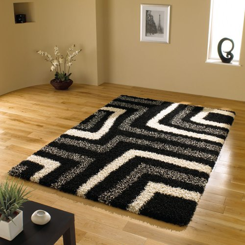 Large Quality Shaggy Rug in Black  &  Grey 120 x 160 cm (4' x 5'3