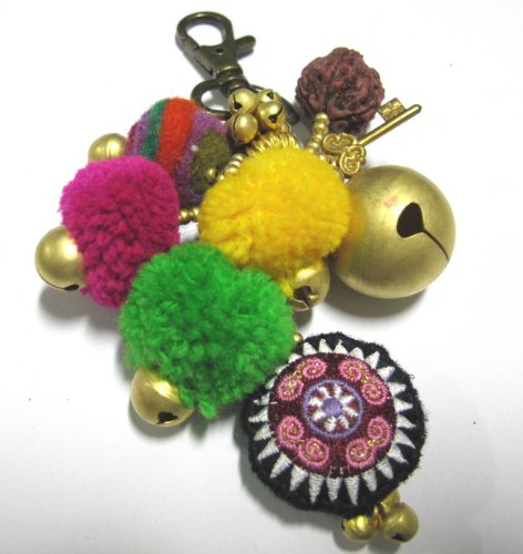 Pom-Pom-Keychain-Thai-Meo-Decorated-with-Colorful-Cotton-Handmade-Best-Seller