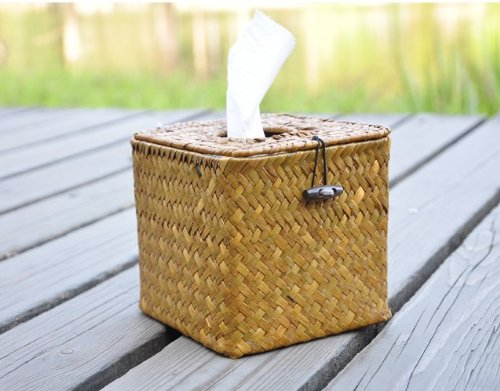 Handmade Yellow Weaving Tissue Box Cover