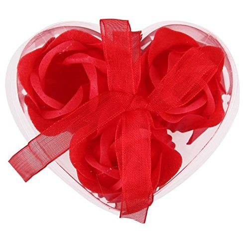 1 set 3X Scented home Soap Bath Body Heart Rose Petal Wedding Party Decor Gift Favor Flower:hot red