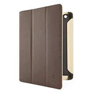Belkin Leather Smart Of/Off Trifold Case Cover with Stand for iPad 2, iPad 3 and iPad 4 with Retina Display - Brown