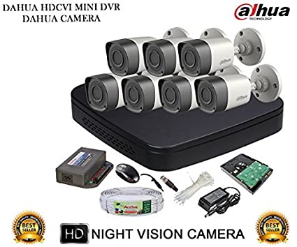 Dahua DH-HCVR4108C-S2 8CH Dvr, 7(DH-HAC-HFW1000RP) Bullet Cameras (With Accessories, 2TB HDD)