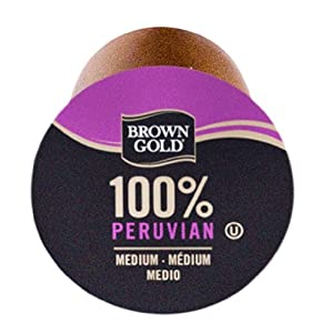 Brown Gold Peruvian Coffee Capsules Keurig K-Cup Brewers, 48 Count