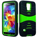 myLife Bright Green and Black - Shockproof Survivor Series (Built In Kickstand + Easy Grip Ridges) 2 Piece + 2... by myLife Brand Products