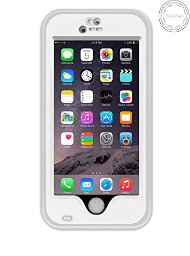 Bessmate™ 2 Meters Underwater Waterproof Shockproof SnowProof DustProof Durable Full Sealed Protection Case Cover with Viewing Kickstand Fingerprint Recognition Touch ID for iPhone 6 (White)