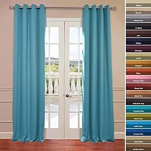Half Price Drapes Boch 201404 84 Gr Grommet Blackout Curtain Turquoise Blue