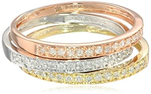 10k Tri-Colored Gold Diamond Stack Ring (1/4 cttw, J-K Color, I2-I3 Clarity), Set of 3 from Amazon Curated Collection