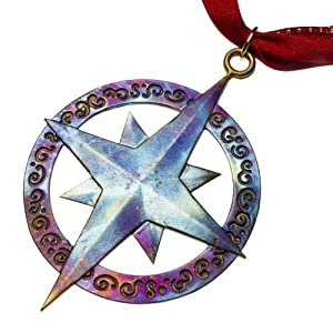 Compass Rose Ornament with Ribbon