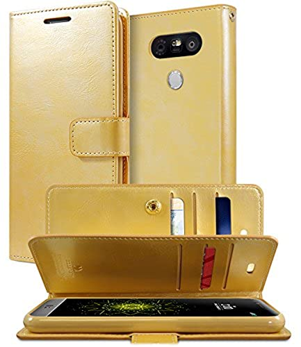 03. LG G5 Case, [Extra Card & Cash Slots] GOOSPERY® Mansoor Diary [Double Sided Wallet Case] Soft PU Leather [Drop Protection] Cover for LG G5 - Metallic Gold