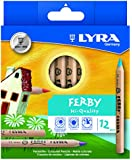 LYRA Ferby Unlacquered Triangular Colored Pencils, 6.25 Millimeter Lead Cores, Set of 12 Pencils, Assorted Colors (3611120)