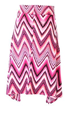 Seven7 Luxe Plus Size Women's Waterfall Printed Asymmentrical Skirt (1X, Bubble Gum Pink)