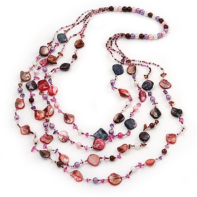 Long Multistrand Pink Shell & Pearl Necklace - 96cm Length