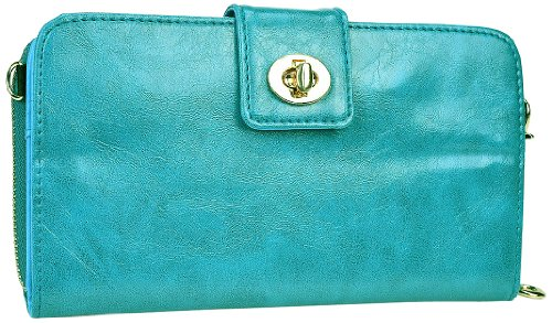 Kroo Magnetic Clutch Wallet For Samsung Galaxy Note 3 - Frustration-Free Packaging - Teal