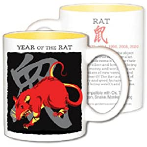 Asian Oriental Chinese Zodiac Coffee & Tea Mug Year of the Rat: Birth Years 1912 1924 1936 1948 1960 1972 1984 1996 2008