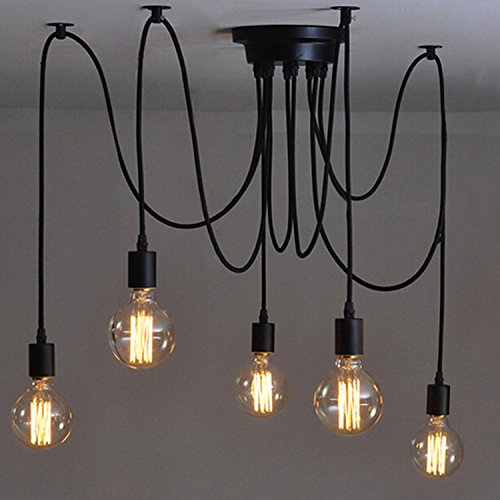 110-220V-Vintage-Edison-Soffitto-Apparecchio-a-Sospensione-Industrial-Light-Lampada-Regolabile-Lampadario-Nero-135-teste