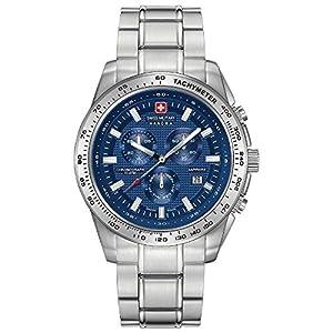 Swiss Military Men's 43mm Steel Bracelet & Case Sapphire Crystal Quartz Blue Dial Watch 06-5225.04.003