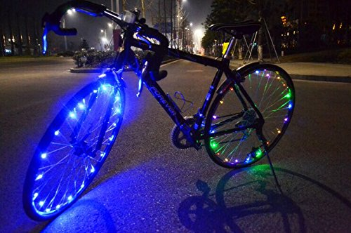 Soondar® Super Bright 20-LED Bicycle Bike Rim Lights - Personalized LED Colorful Wheel Lights - Perfect for Safety and Fun - Easy to Install - Blue Green Red Pink White Multicolore