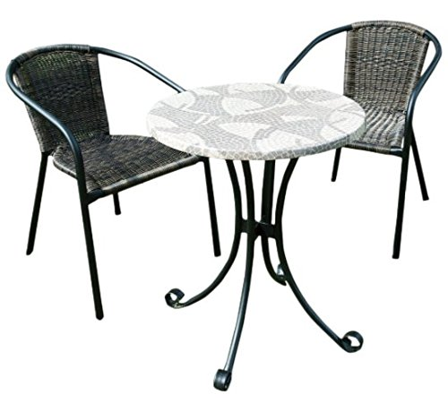 2 Seater Romano Bistro Set - Mosiac Table - Perfect For Enjoying Breakfast In The Garden