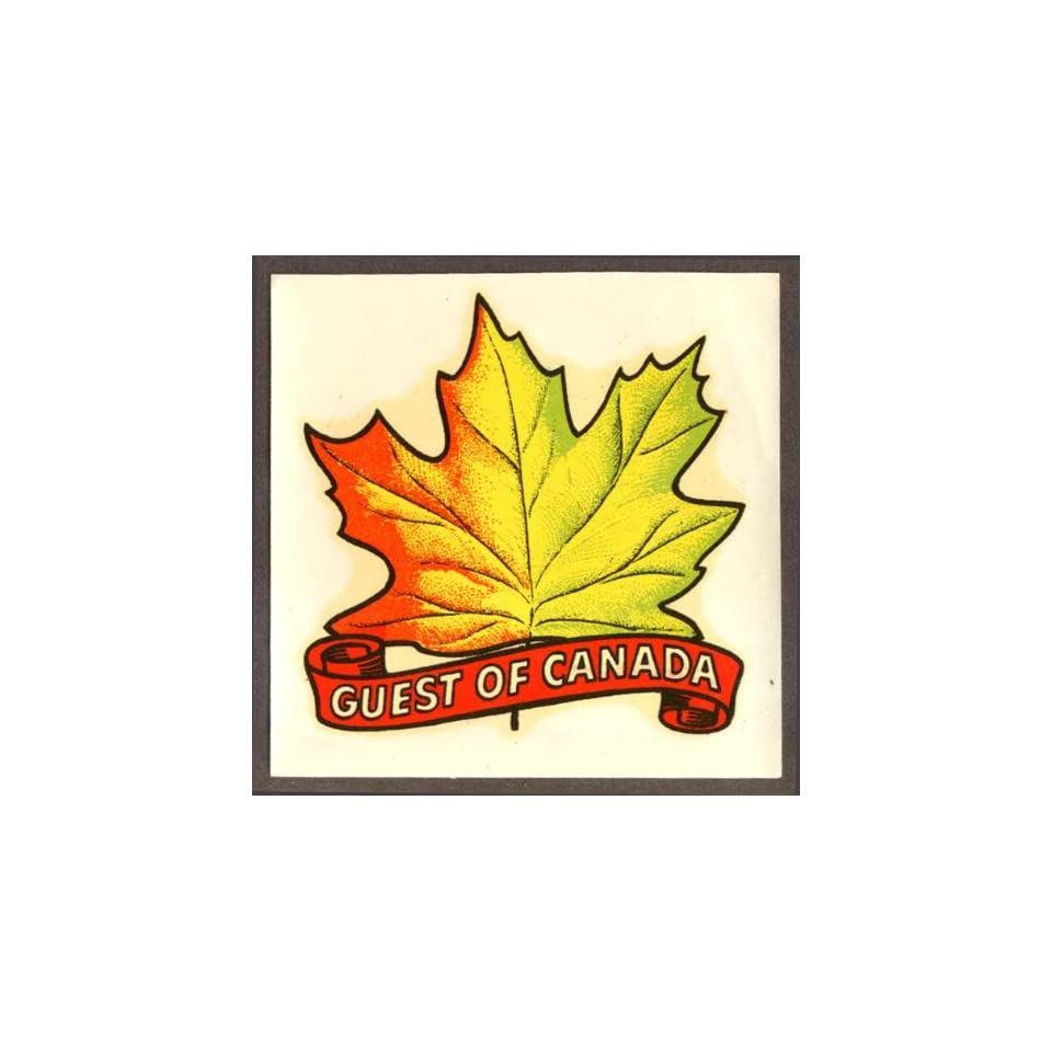 Guest of Canada Maple Leaf car window decal 1950s