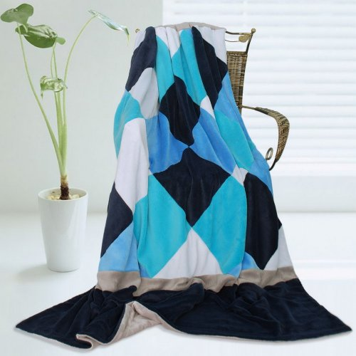 Onitiva - [Plaids - Bliss] Soft Coral Fleece Patchwork Throw Blanket (59 By 78.7 Inches) front-78163