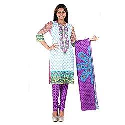 RangoliSF Woman's Cotton Unstitched Dress Material (RSFT1007 Purple)