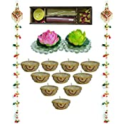 Kriti Creations Traditional Door Hangings With Designer Wax Filled Diyas Combination Pack