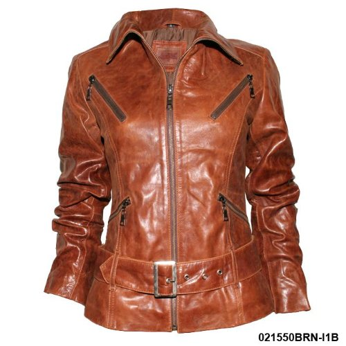 Ladies Tan Real Leather Belted Biker Jacket I1B Size Ladies Size 8 (s)