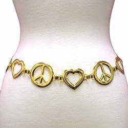 Luxury Divas Peace & Love Hearts Golden Tone Chain Link Belt