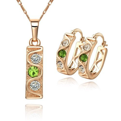 Klaritta Top Qualty 18 K Gold Plated Jewellery Set White & Green Crystal Stones Hoops Earrings, Necklace With Pendant S183
