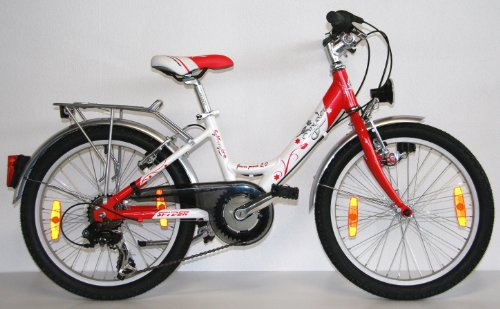 50 8 cm 20 zoll alu kinderfahrrad citybike pink flower. Black Bedroom Furniture Sets. Home Design Ideas