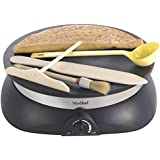 VonShef Professional High Quality Electric Crepe and Pancake Maker + FREE Batter Spreader, Oil Brush, Wooden Spatula & Ladle